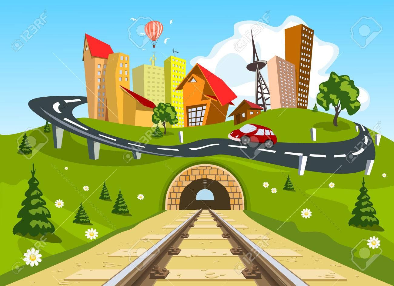 Railroad tracks through landscape to the city - 28463396