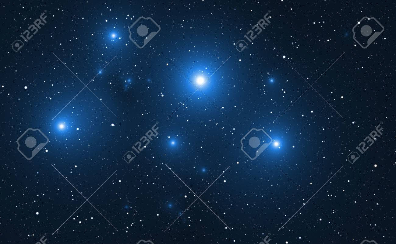 Space background with blue bright stars. - 39524209