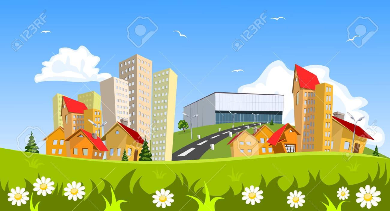 Colorful abstract vector city. Vector art - 43609673