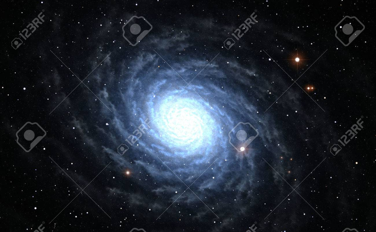 Illustration of blue Spiral Galaxy with star field - 43848216