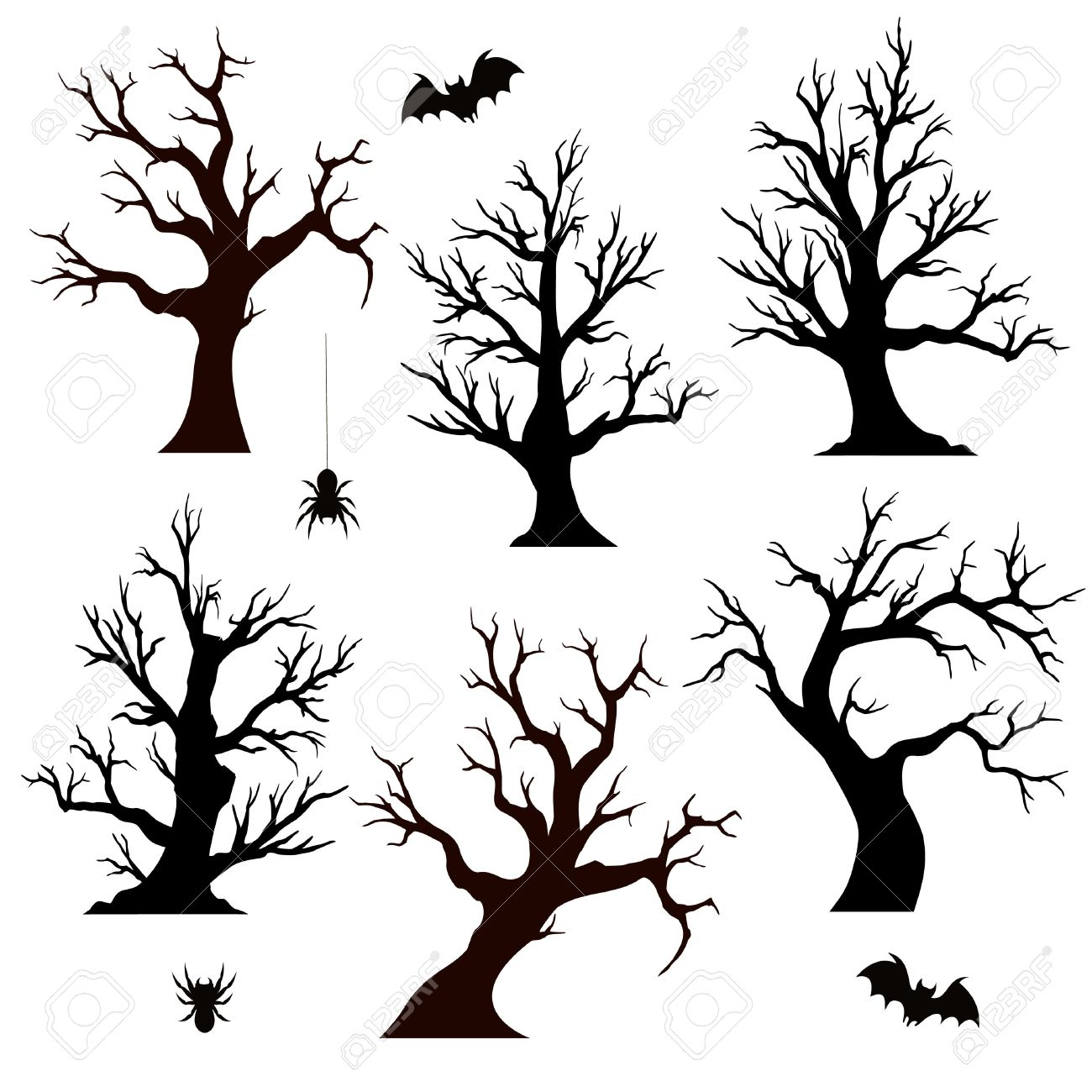 halloween trees spiders and bats on white background
