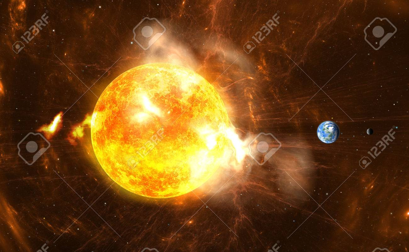 Giant Solar Flares. Sun producing super-storms and massive radiation bursts - 46619039