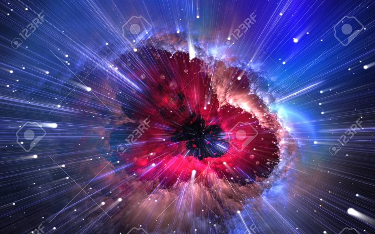 Quantum physics, time quantum travel. Nanocosmos, nanoworld. 3d illustration - 118985534