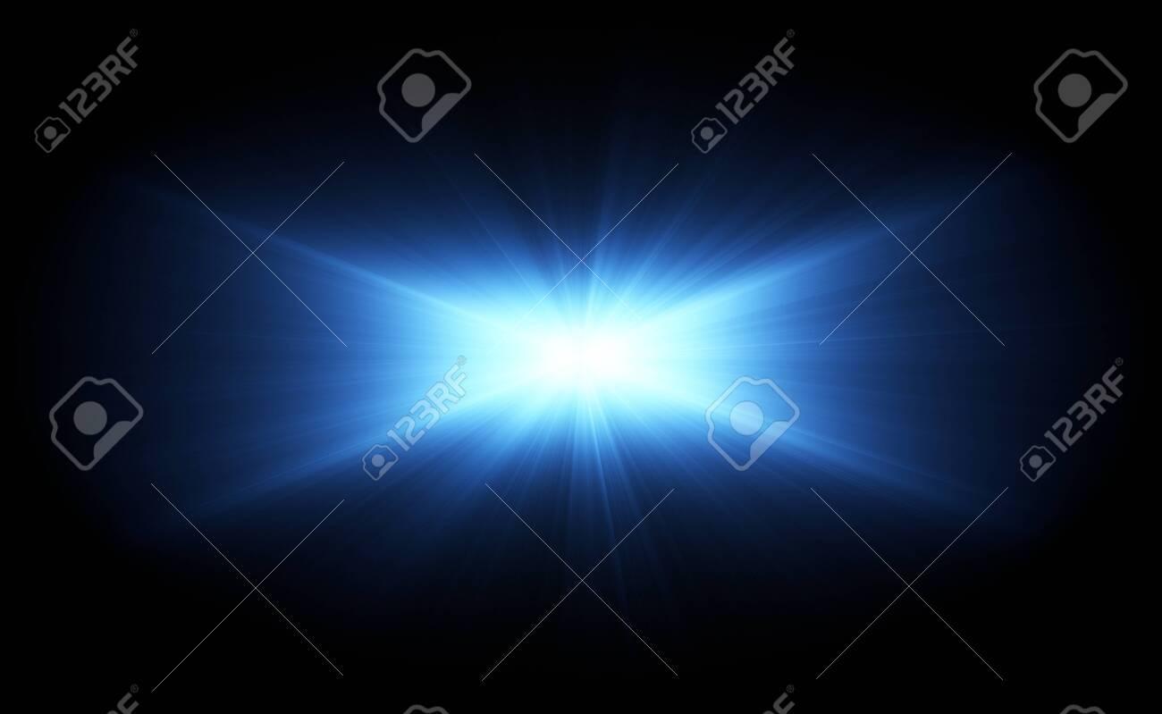 VFX Glow lighting effect star burst, flash energy ray. Creative design template, 3D illustration - 142334583