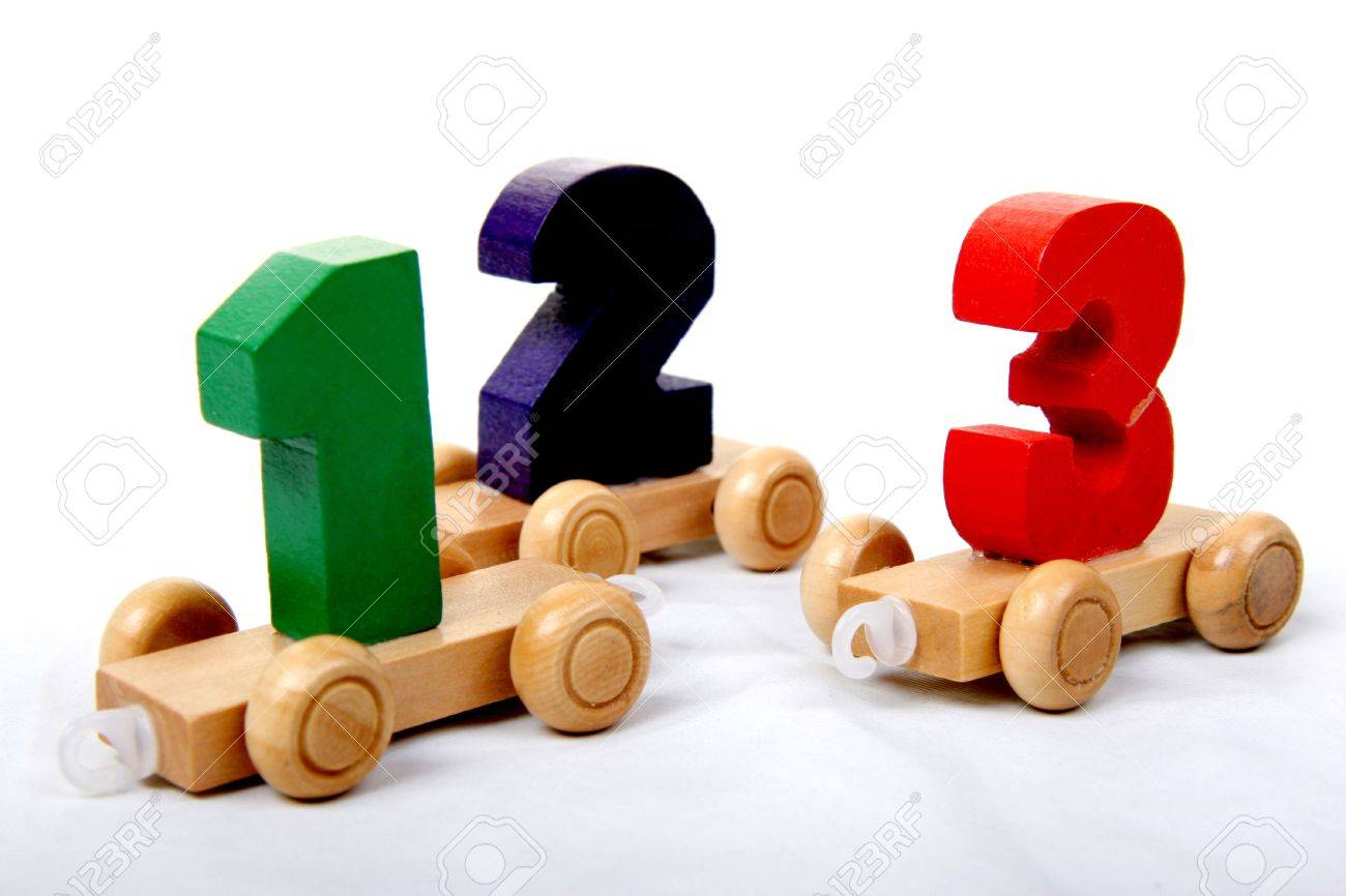 wooden educational toy train with numbers from one to three