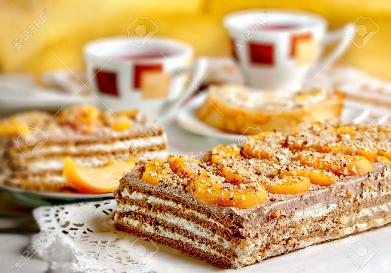 Delicious walnut cake dessert served on a table Stock Photo - 12853982