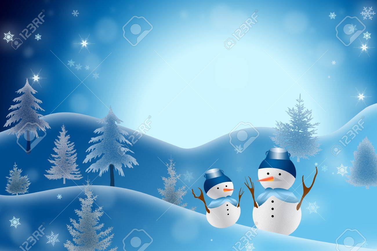 A christmas themed snow scene showing Snowman Stock Photo - 12852866