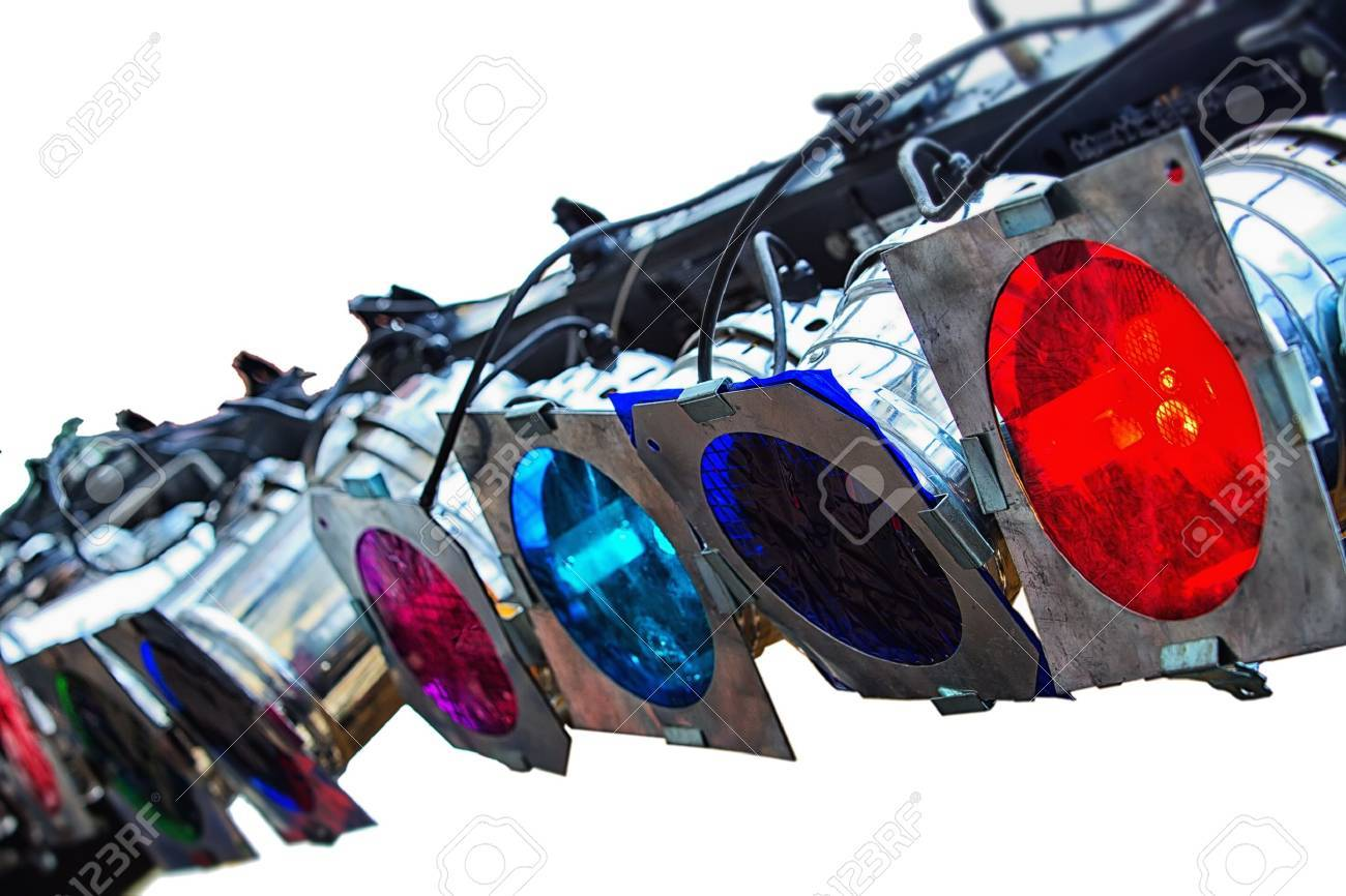 Colorful lights studio isolated on white background Stock Photo - 17453125