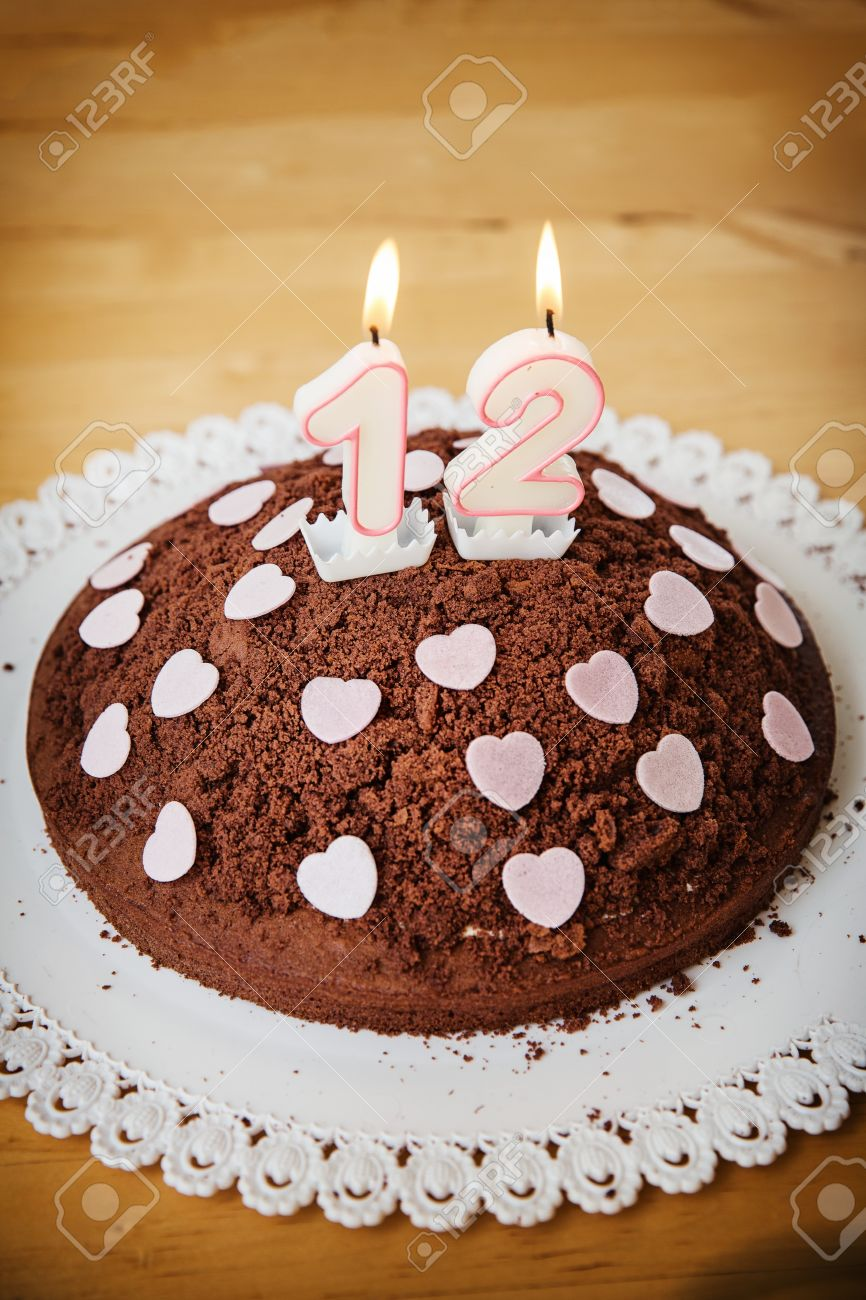 Birthday Anniversary Cake With Candles Showing Nr 12 Stock Photo