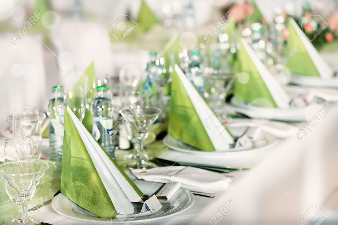 festive table setting for wedding valentine or other event