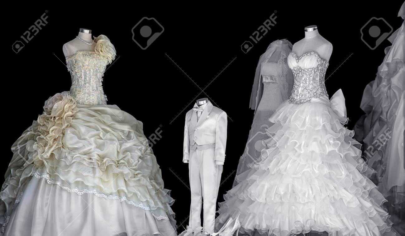 Schöne Hochzeit Kleid Auf Einem Schwarzen Hintergrund Lizenzfreie ...