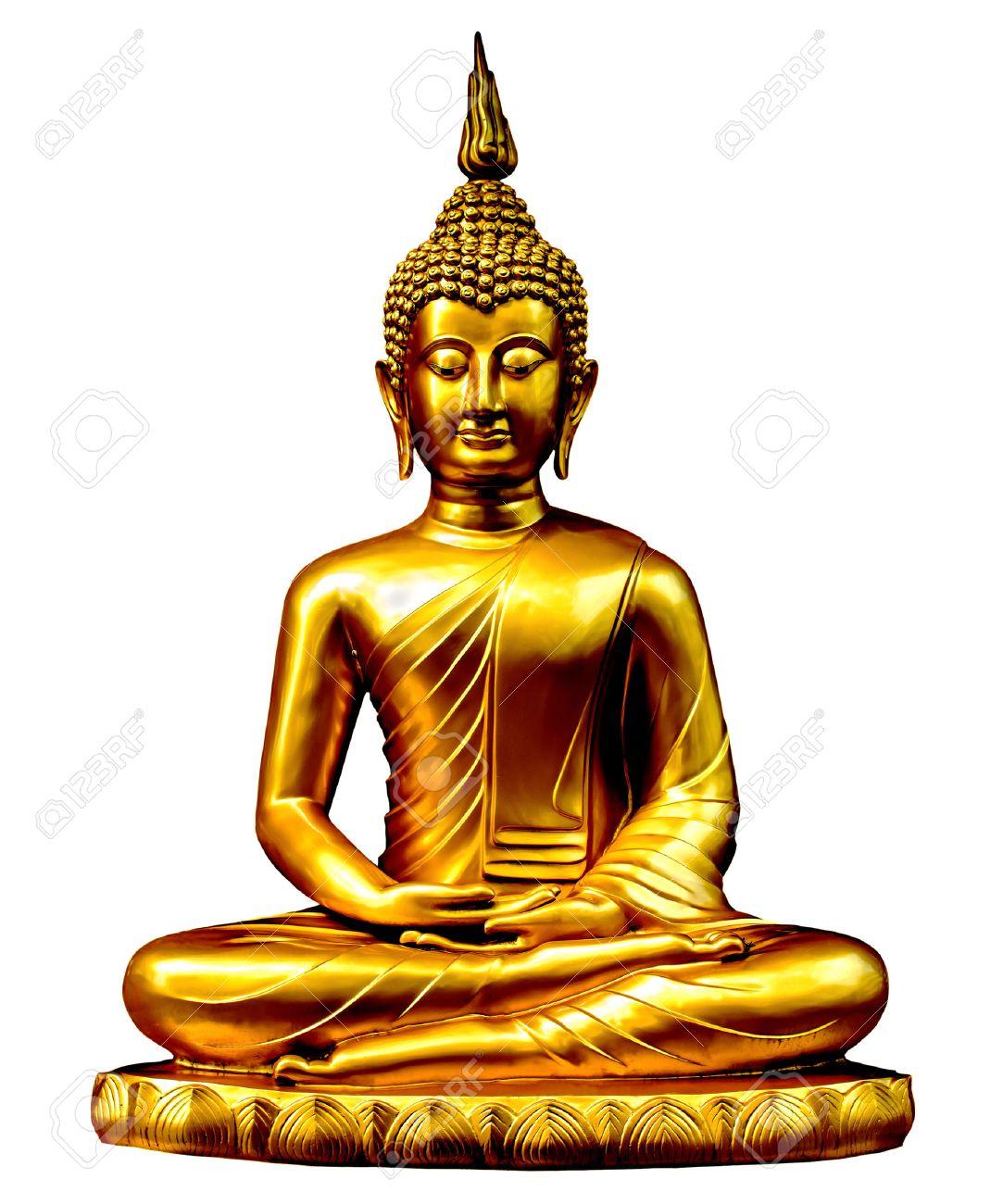 Exceptionnel Statua Di Buddha D'oro Su Fondo Bianco. Foto Royalty Free  CP47