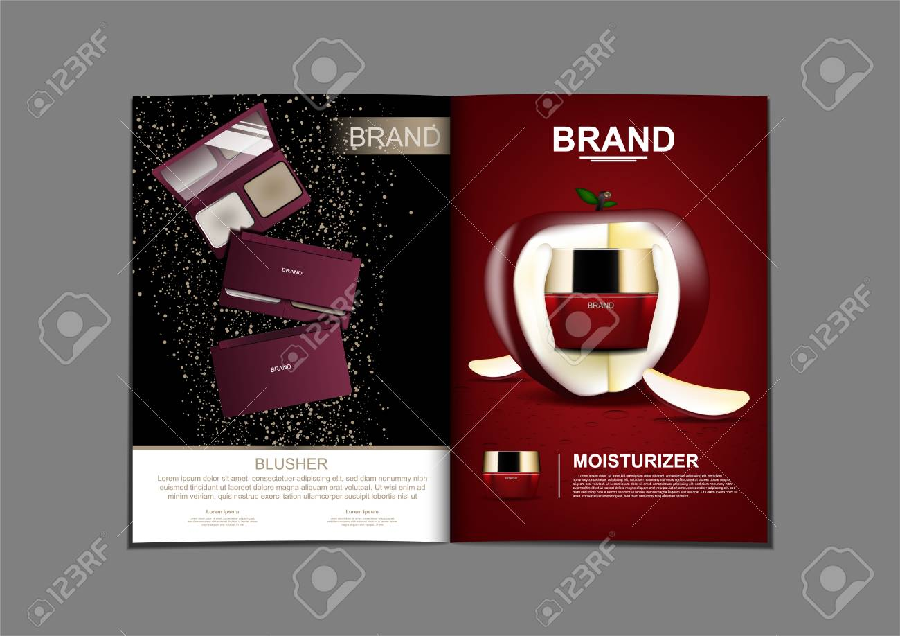Magazine of press powder and anti aging cream with apple and