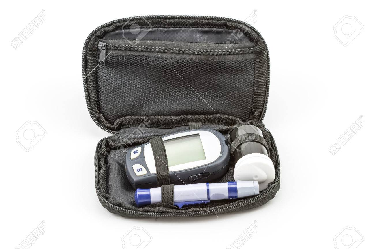 Blood Glucose Meter Test Kit The Blood Sugar Value Is Measured Stock Photo Picture And Royalty Free Image Image 44762952