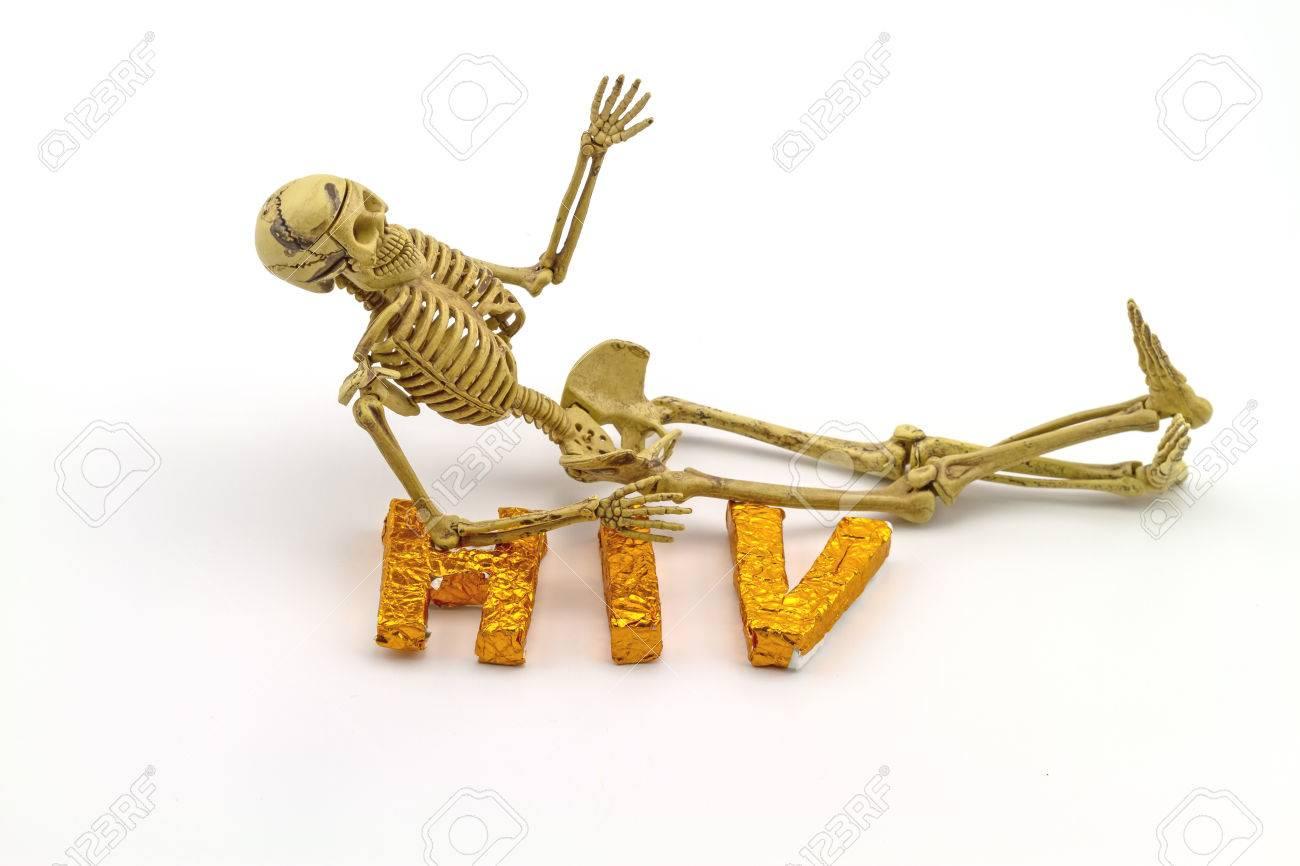 Stillleben Konzept Menschlichen Körper Knochen Und Ein Wort HIV Auf ...