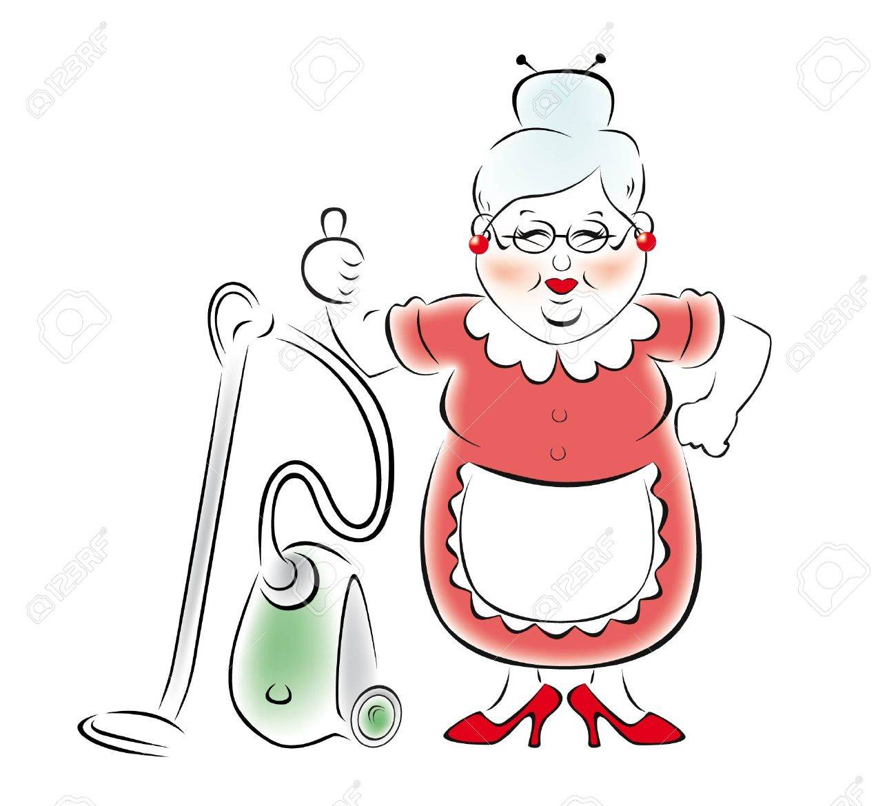 Illustration of a smiling grandmother with a vacuum cleaner. Stock Vector - 17474053