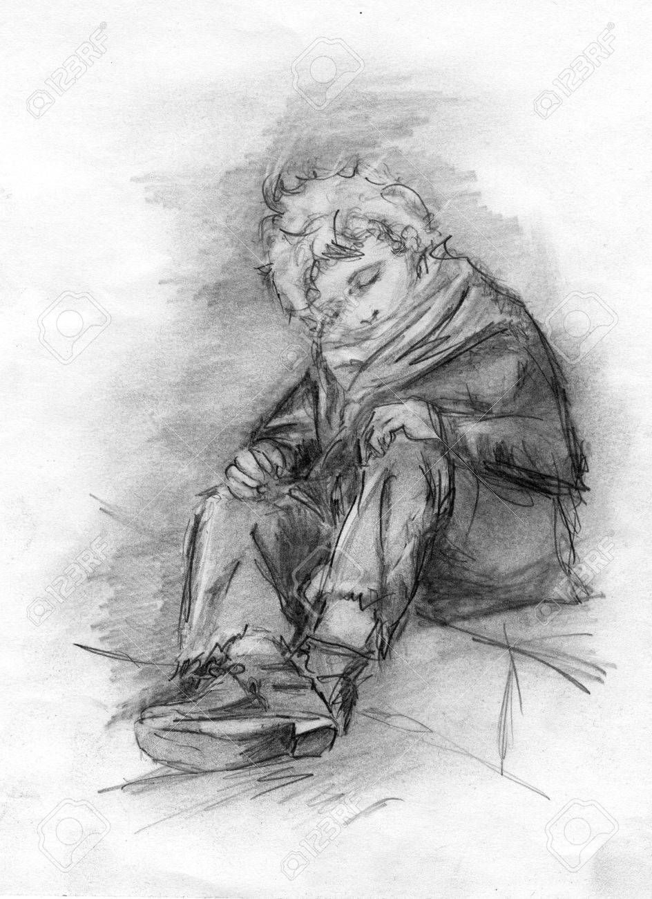 Image homeless sleeping boy pencil drawing stock photo 59358888