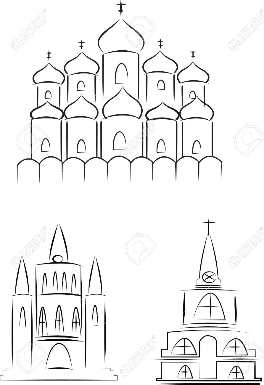 A set of sketches of churches hand drawn stock vector 31493539