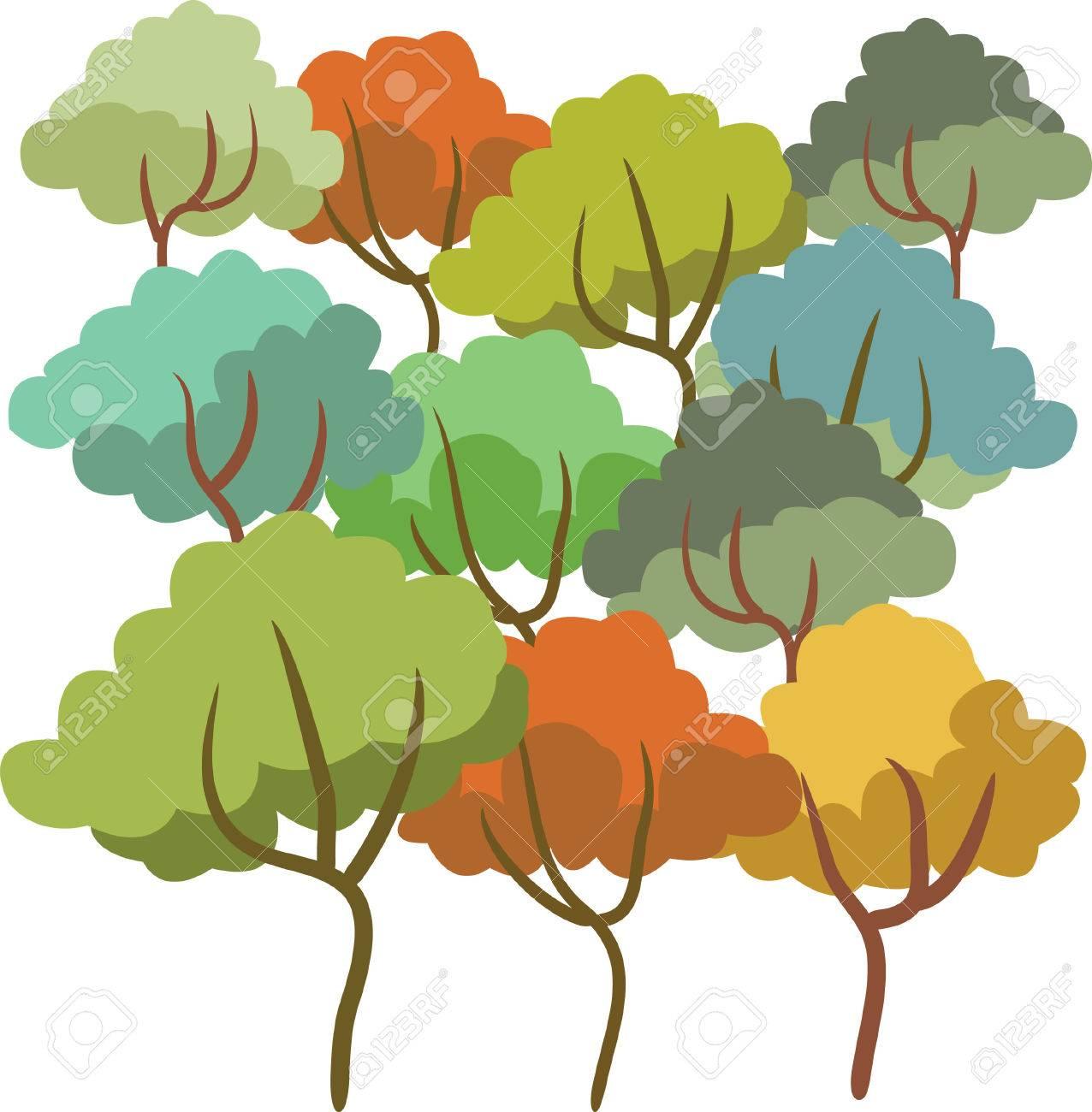 Dibujo A Color Conjunto Del árbol De Verano Ilustraciones