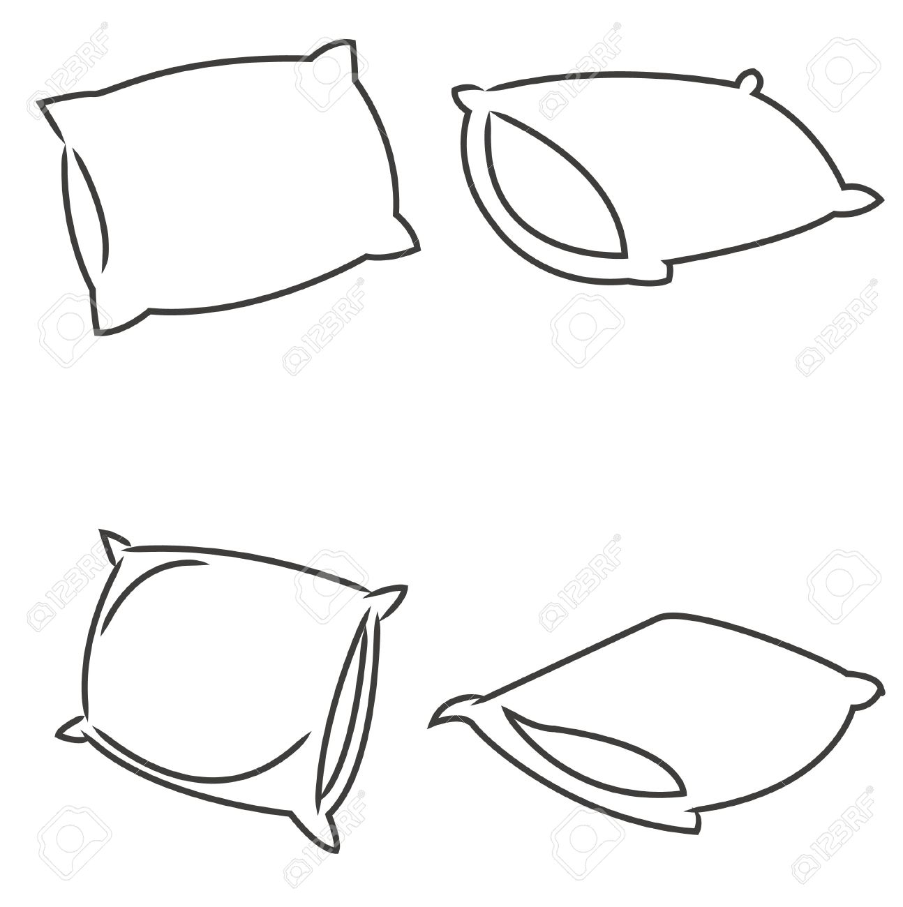 Pillow Cartoon Vector Royalty Free Cliparts, Vectors, And Stock ... for Pillow Cartoon Black And White  55jwn