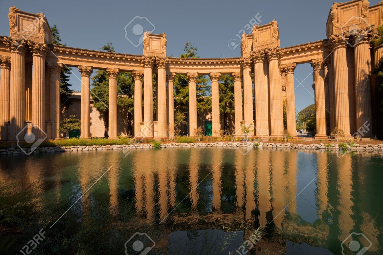 Columns Of The Palace Of Fine Arts Is Reflected In Pond Water