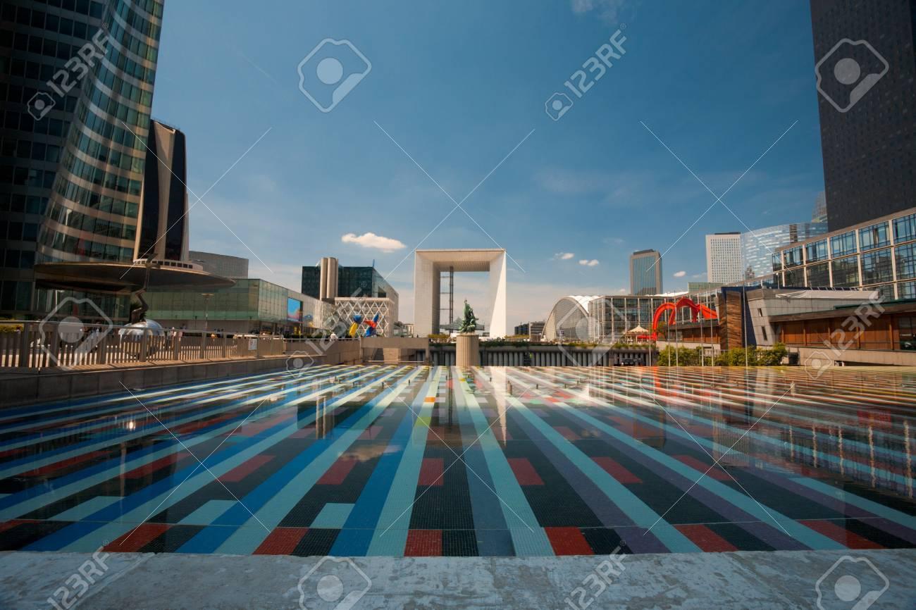 The central concourse of the La Defense area of Paris and the Grande Arche in the distance Stock Photo - 12547685