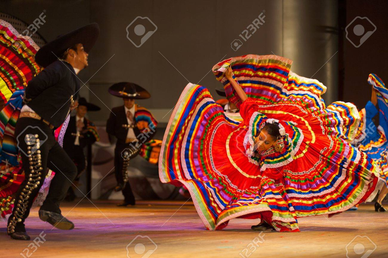 SEOUL, KOREA - SEPTEMBER 30, 2009: A female Mexican dancer spins her dress at a traditional folkloric dance performance at city hall open-air stage in Seoul, South Korea on September 30, 2009 - 18739884