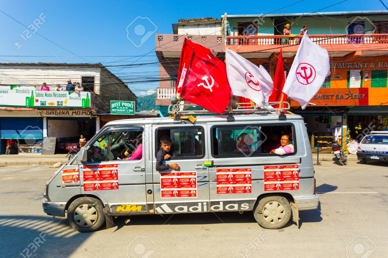 Pokhara, Nepal - May 11, 2017: Maoist Communist Party supporters