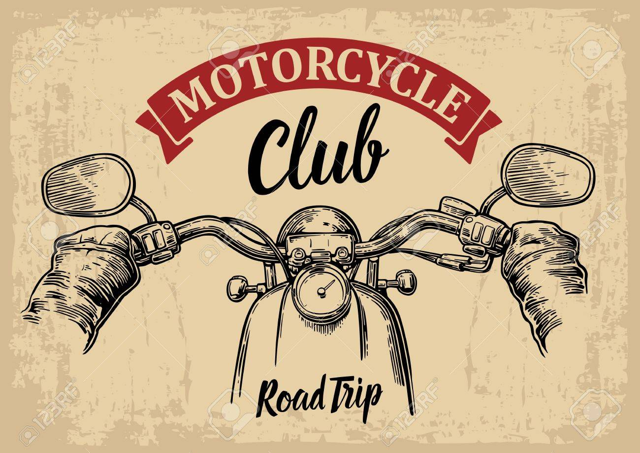 engraved illustration isolated on bright vintage background. For web, poster motorcycle club. Road Trip. - 53937901