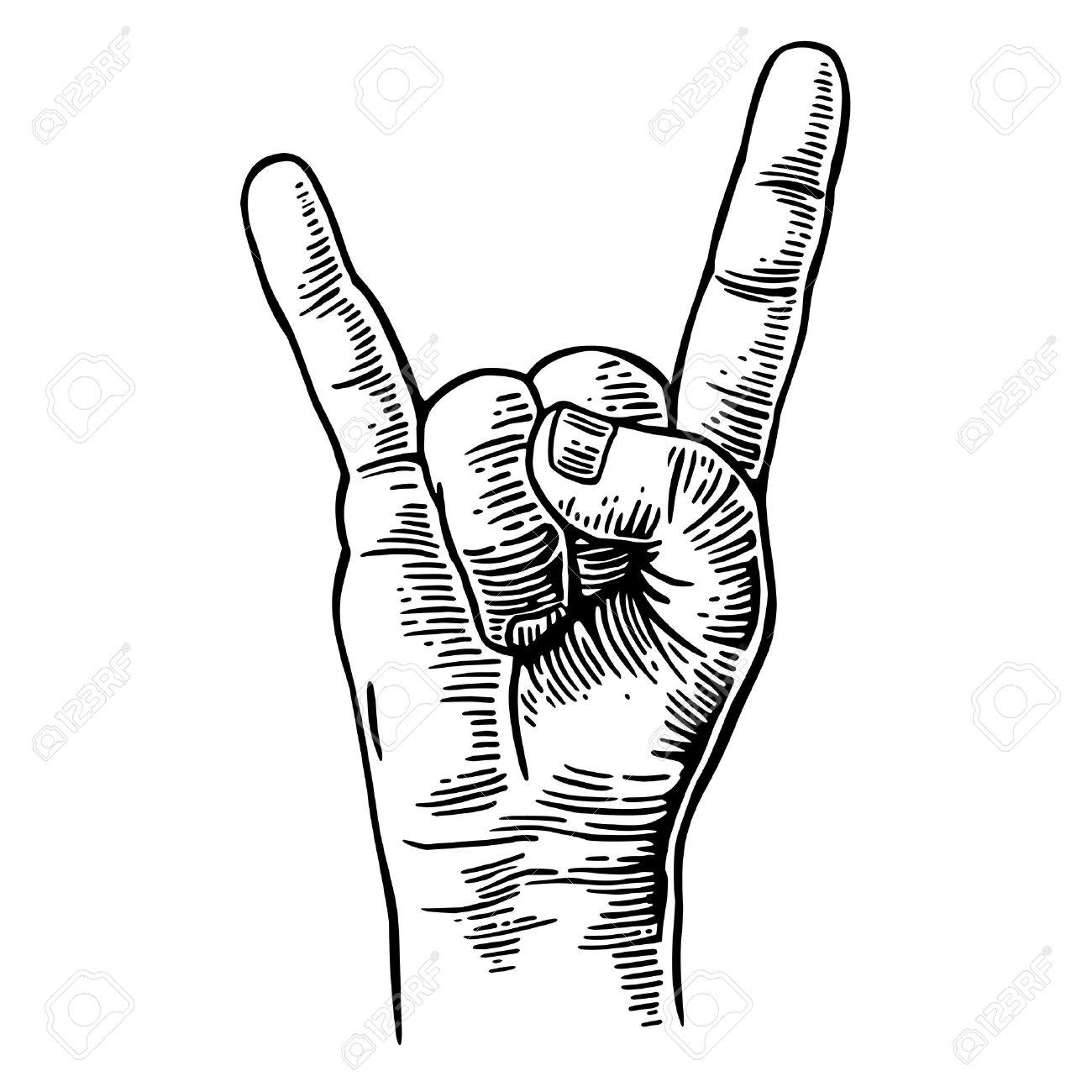 Rock and Roll hand sign. Vector black vintage engraved illustration. Hand giving the devil horns gesture - 54777096