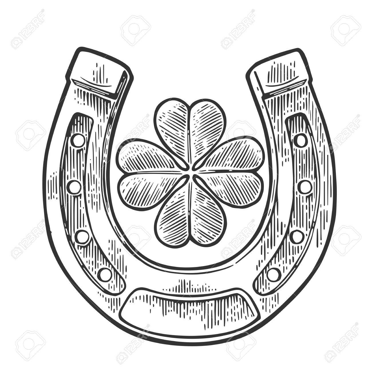 Good luck four leaf clover and horseshoe. Vintage vector engraving illustration for info graphic, poster, web. Black on white background - 54777103