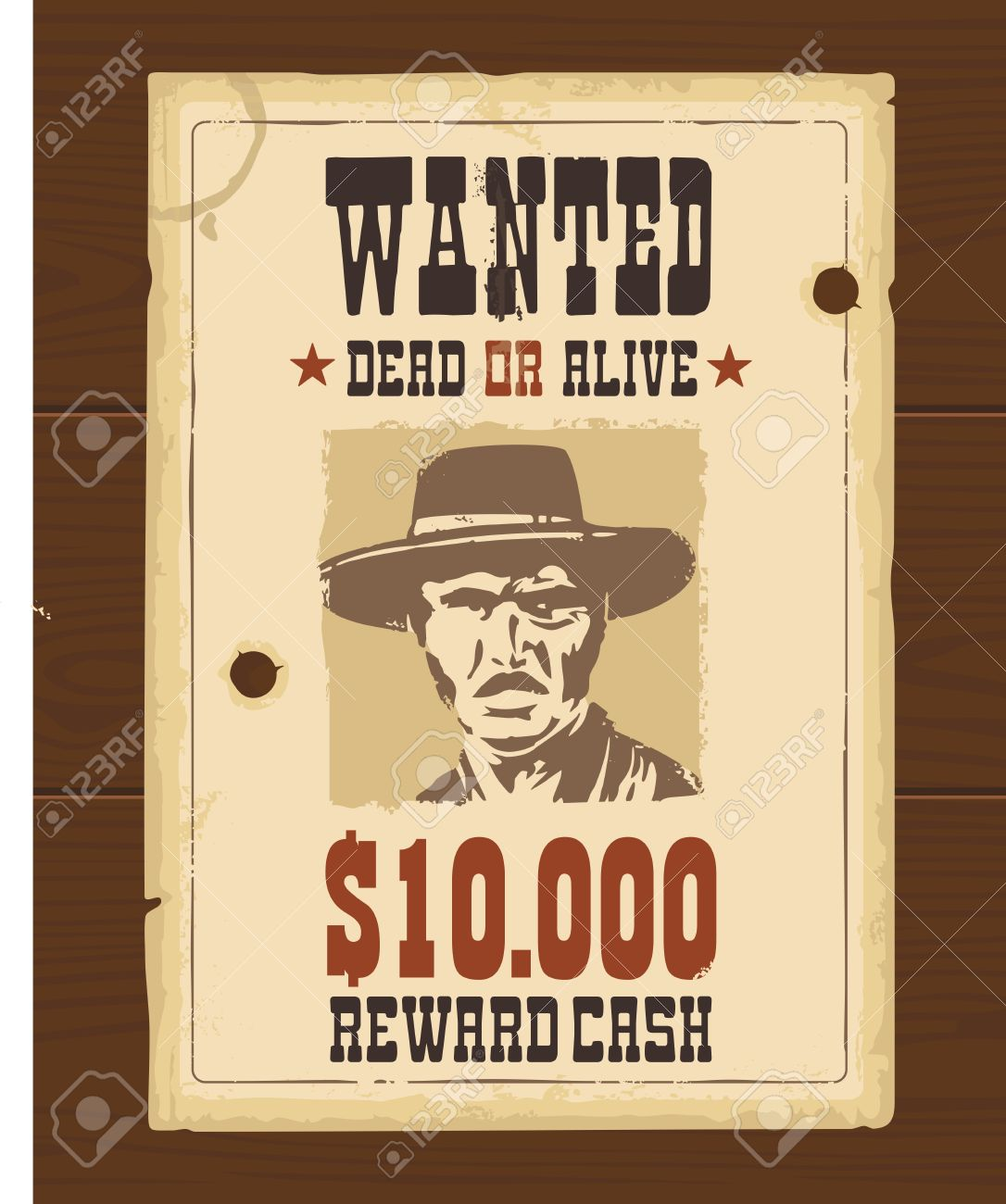 Vector Vintage western retro Wanted Poster template. Old paper texture dark on wood surface - 54838405
