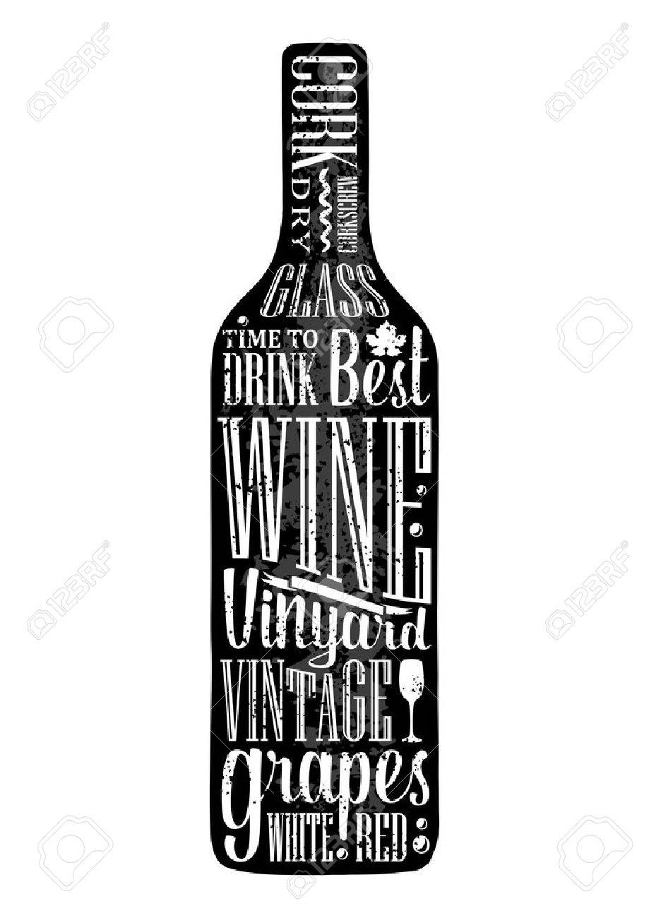 Typography Poster Lettering Text In Silhouette Wine Bottle Vintage Vector Engraving Illustration Advertising Design