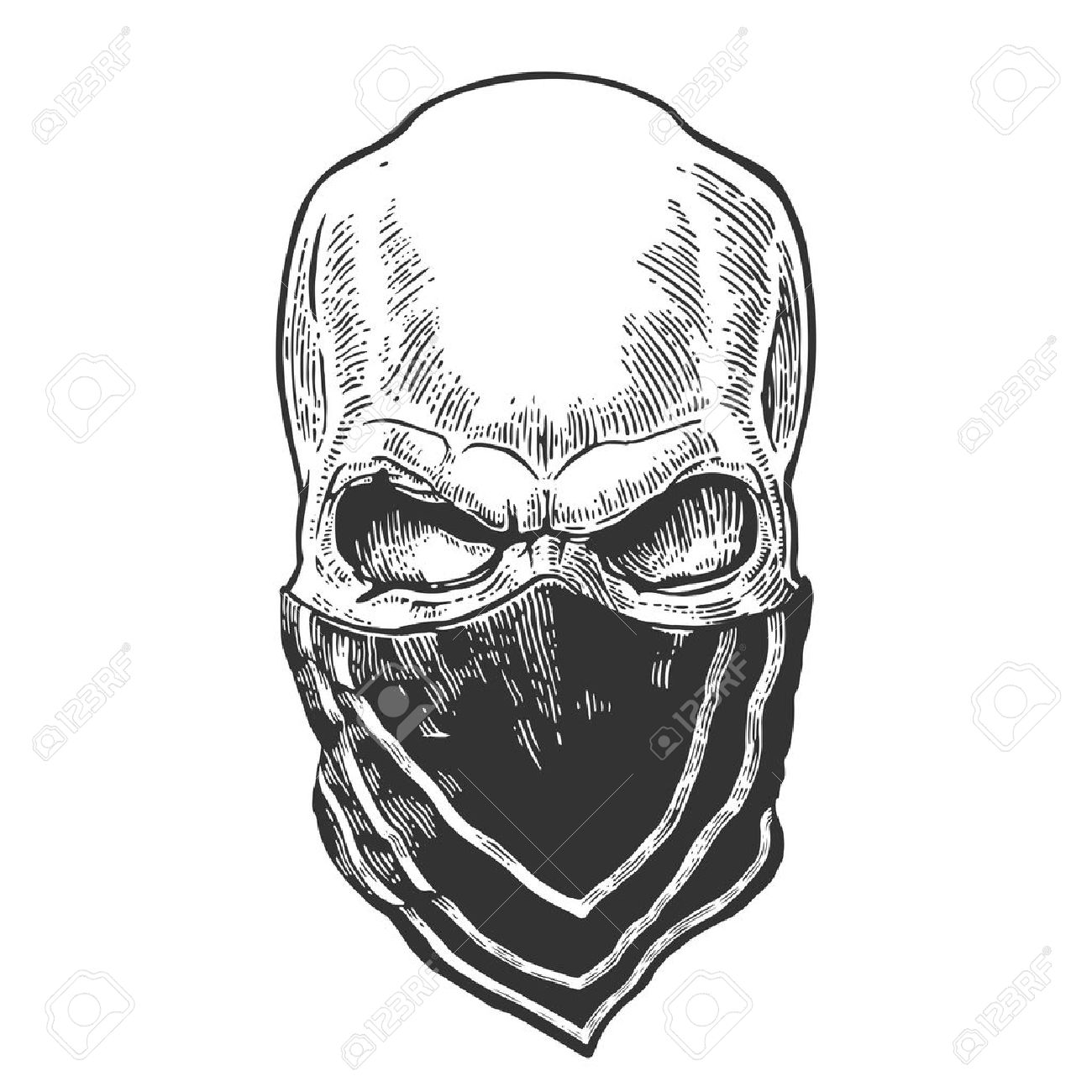 Skull with bandana. Black vintage vector illustration. For poster and tattoo biker club. Hand drawn design element isolated on white background - 56546482