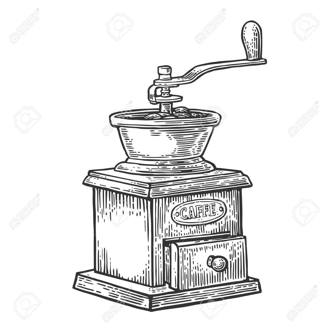 Printable Hand Drawn Antique Coffee Grinder Digital Download Drawing Illustration Image Transfer Clip Art