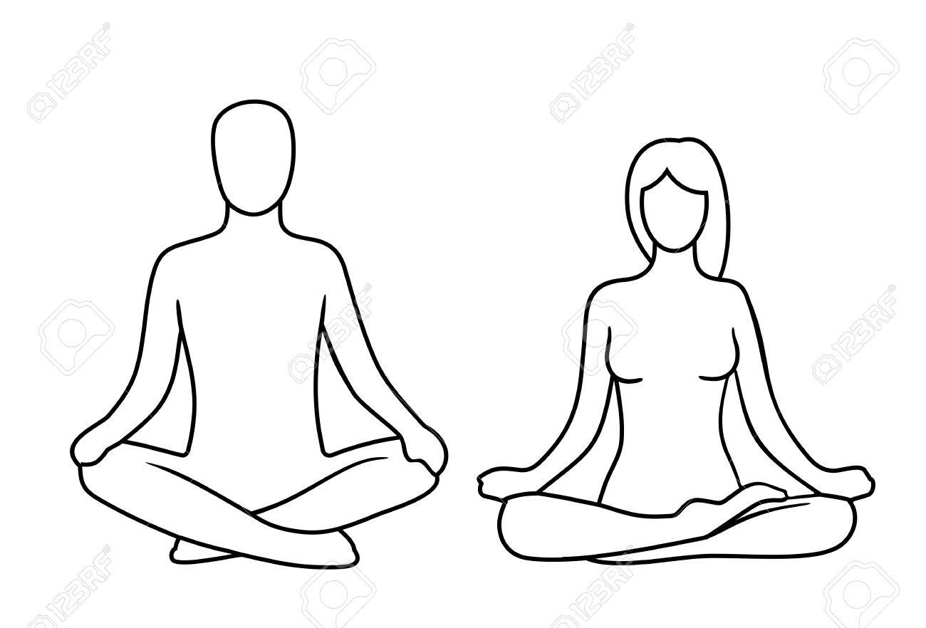 Man And Woman Of Lotus Yoga Pose Vector Illustration For Icon