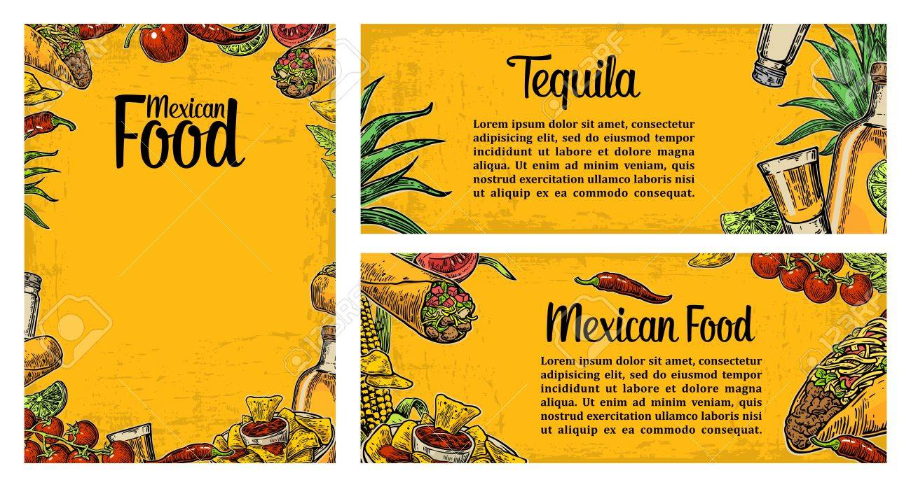 mexican traditional food restaurant menu template with traditional