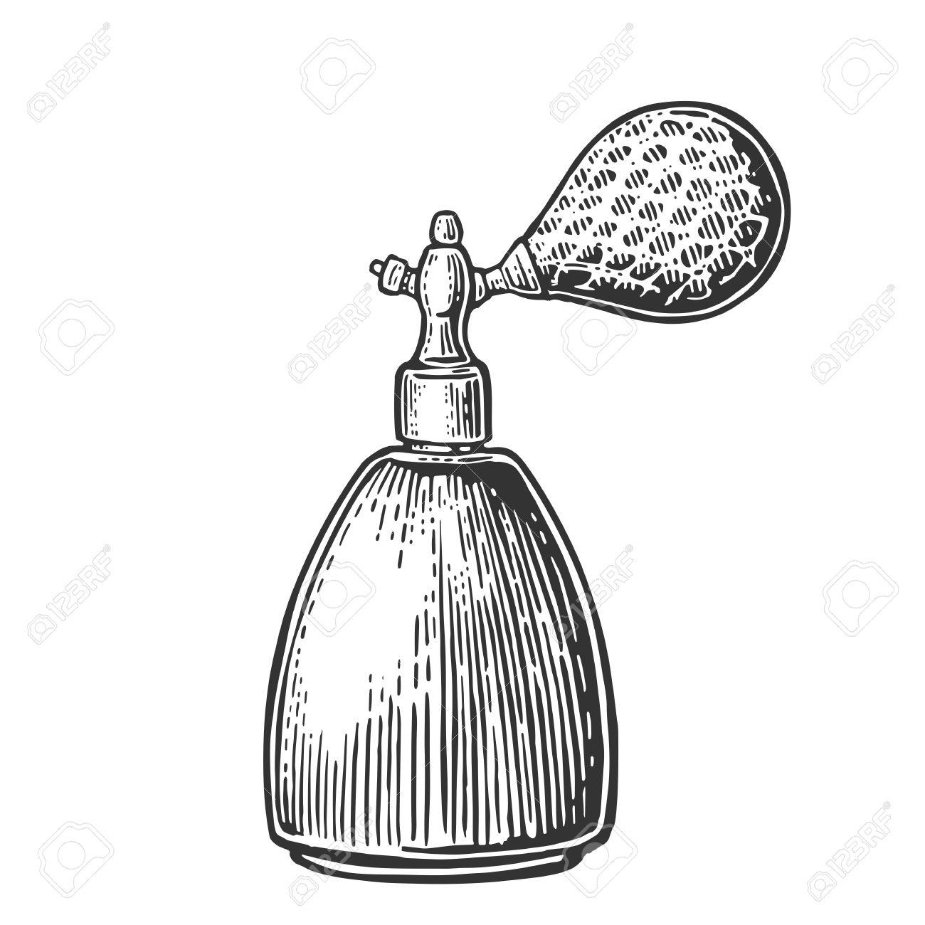 perfume bottle spray vector black illustrations on white