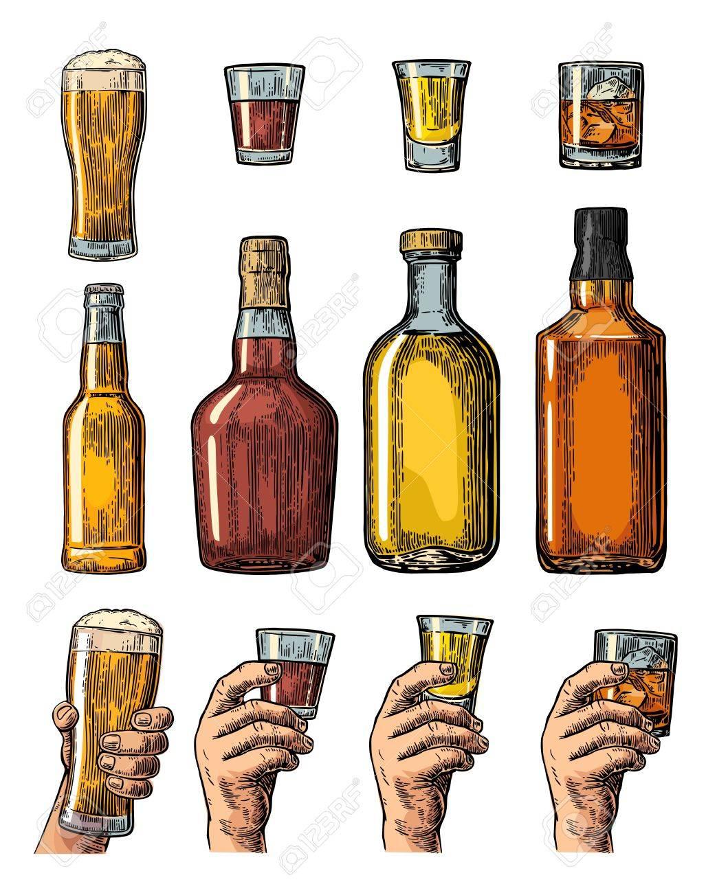 Set Alkohol Getränke Mit Flasche, Glas Und Hand Hält Bier, Whiskey ...