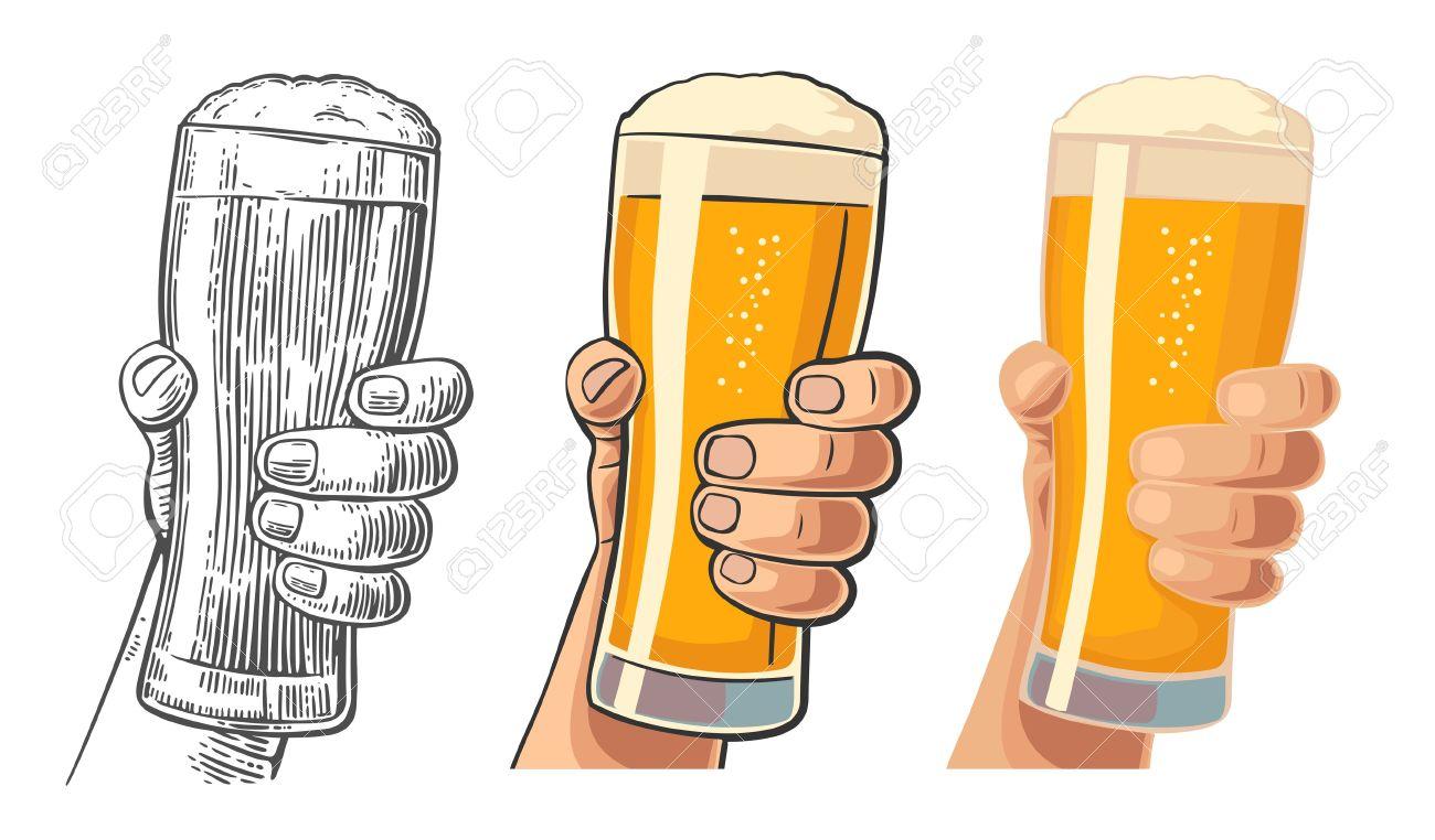 Mannliche Hand Ein Bierglas Halt Zeichnung In Drei Grafikstile