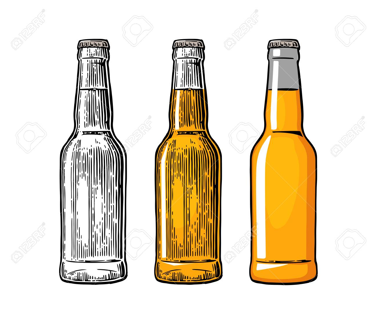 Beer bottle. Drawing in three graphic styles. Color vintage engraving and flat vector illustration. Isolated on white background. For web, poster and invitation to party - 62187900