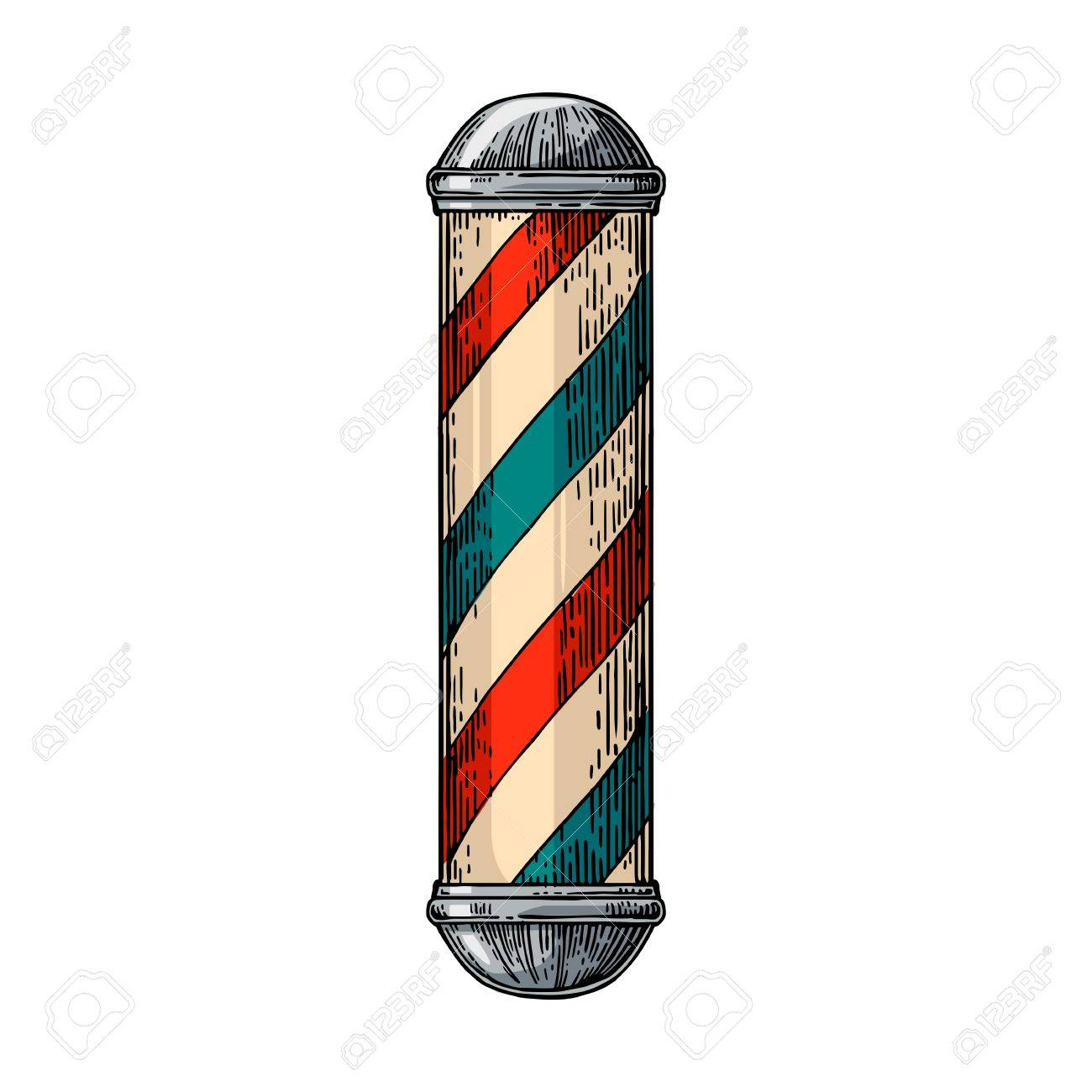Classic Barber Shop Pole Vector Color Vintage Illustrations Isolated On White Backgrounds Hand Drawn