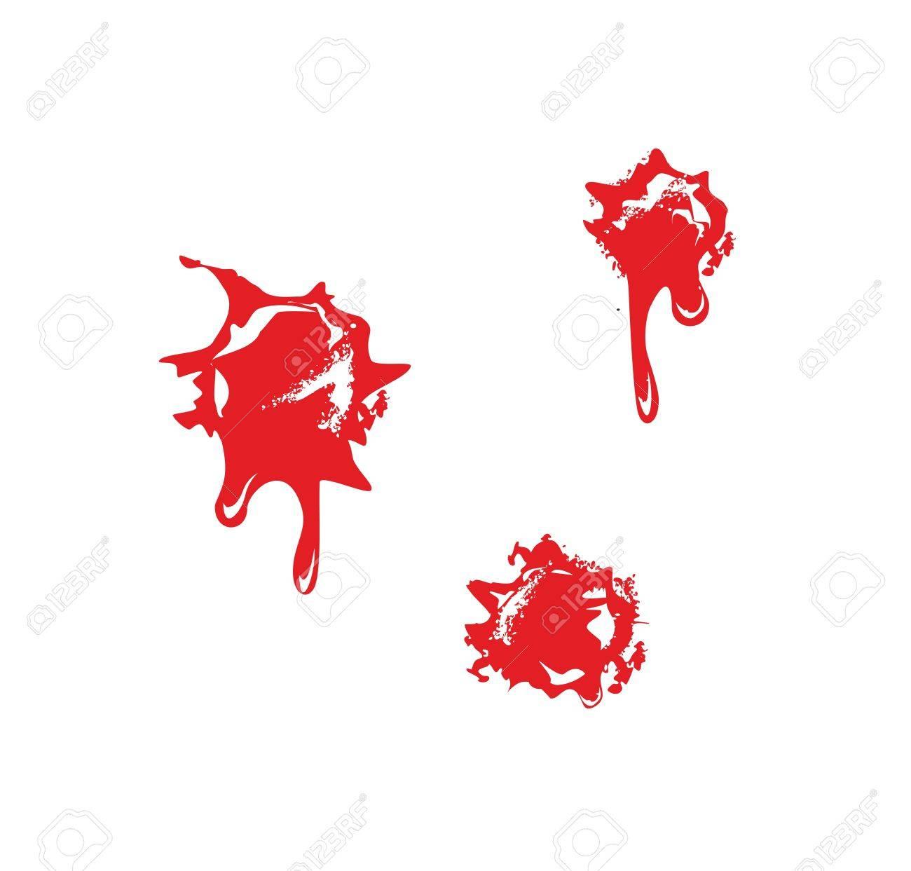 血しぶきと銃弾の穴白い背景の平面ベクトル イラストのイラスト素材