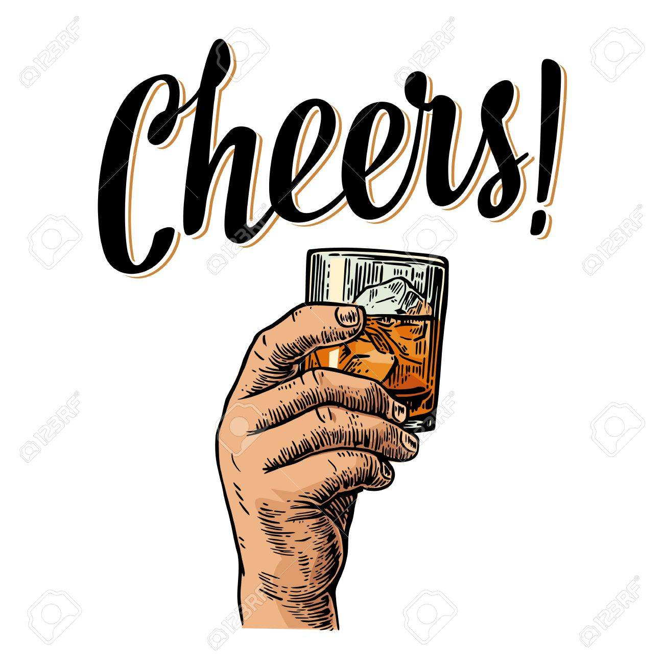Male hand holding a glass with whiskey and ice cubes. Cheers toast lettering. Vintage engraving illustration for label, poster, invitation to a party. Isolated on white background. - 63905871