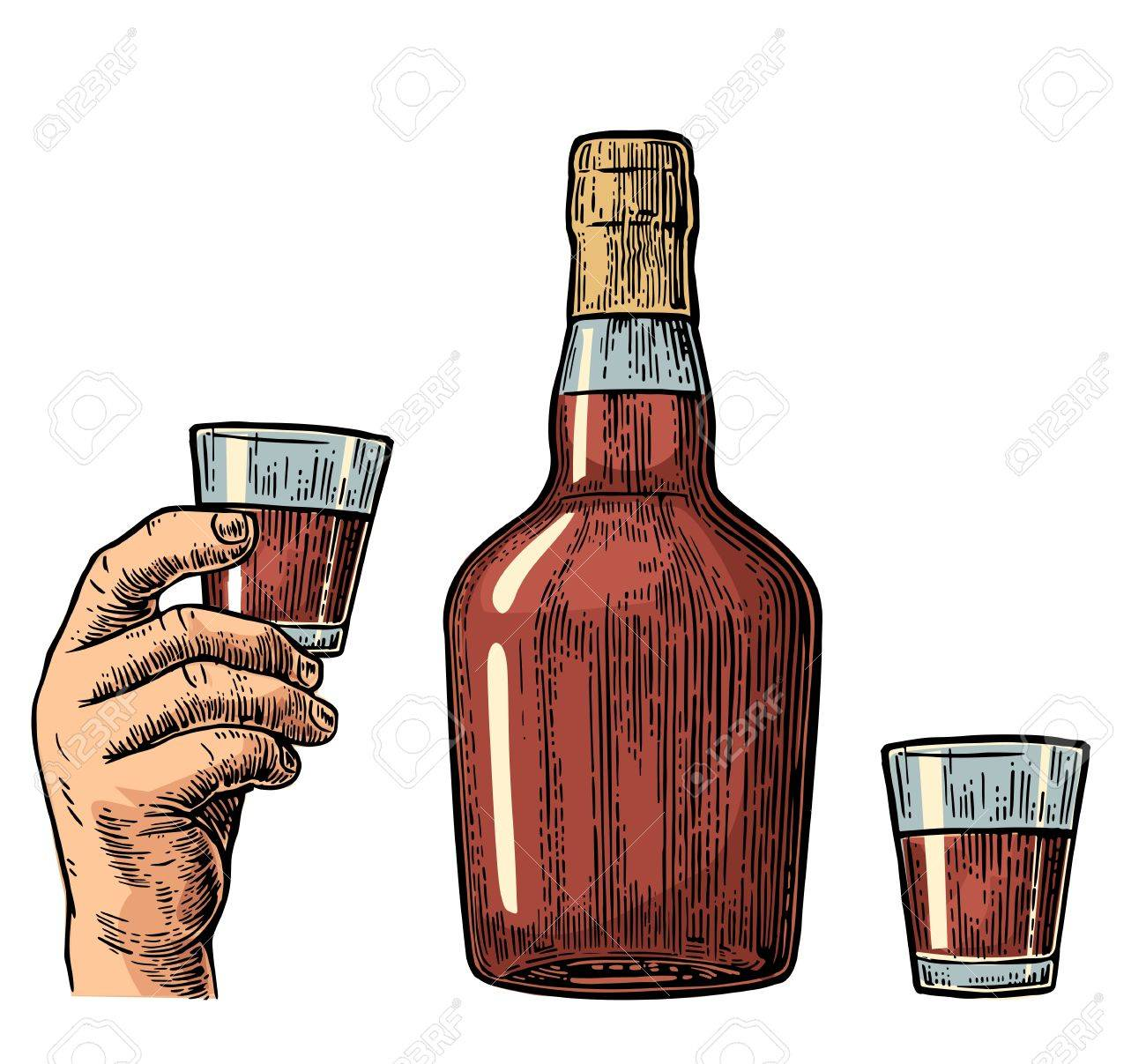 Rum Flasche Und Hand Hält Glas Jahrgang Farbe Gravur Illustration