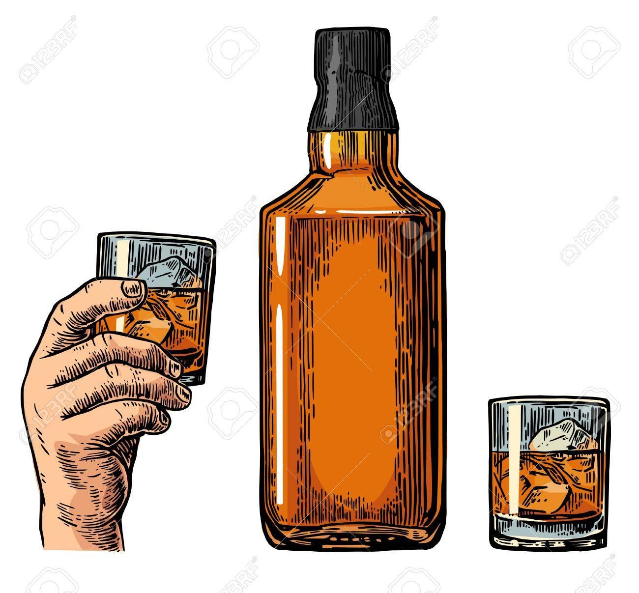 Whiskey Flasche Und Hand Hält Glas Jahrgang Farbe Gravur
