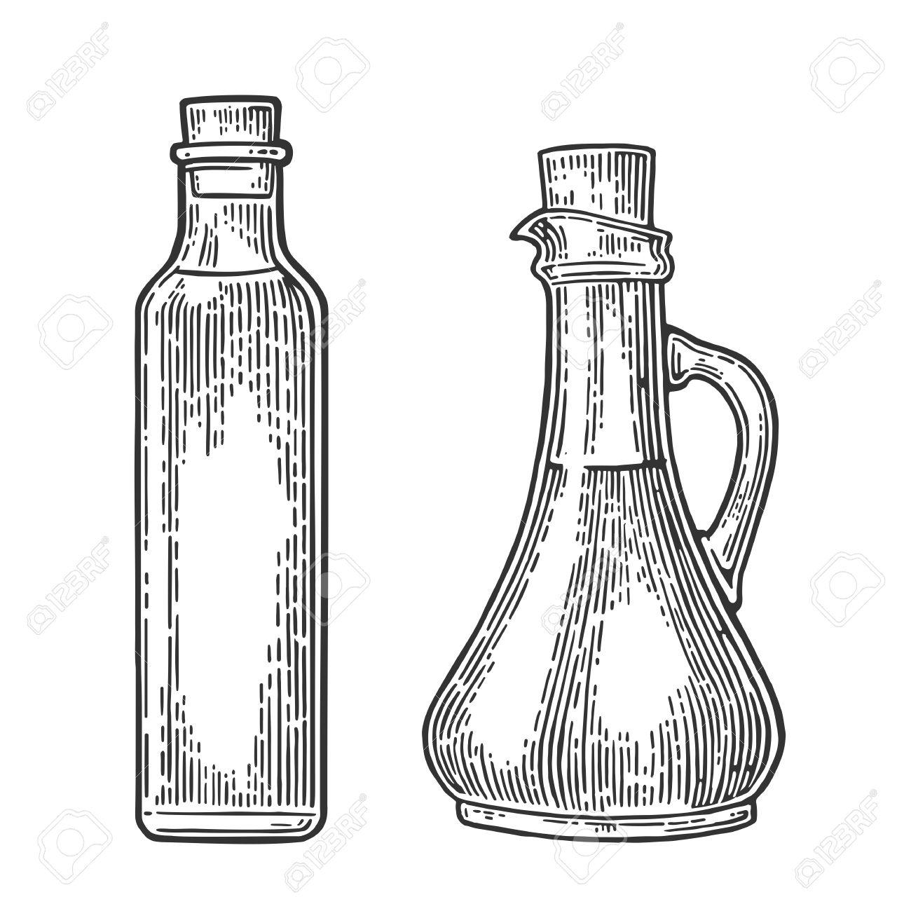 bouteille et verre cruche de liquide. huile d'olive. hand drawn élément de  design. vintage noir vecteur gravure illustration pour poster, web.