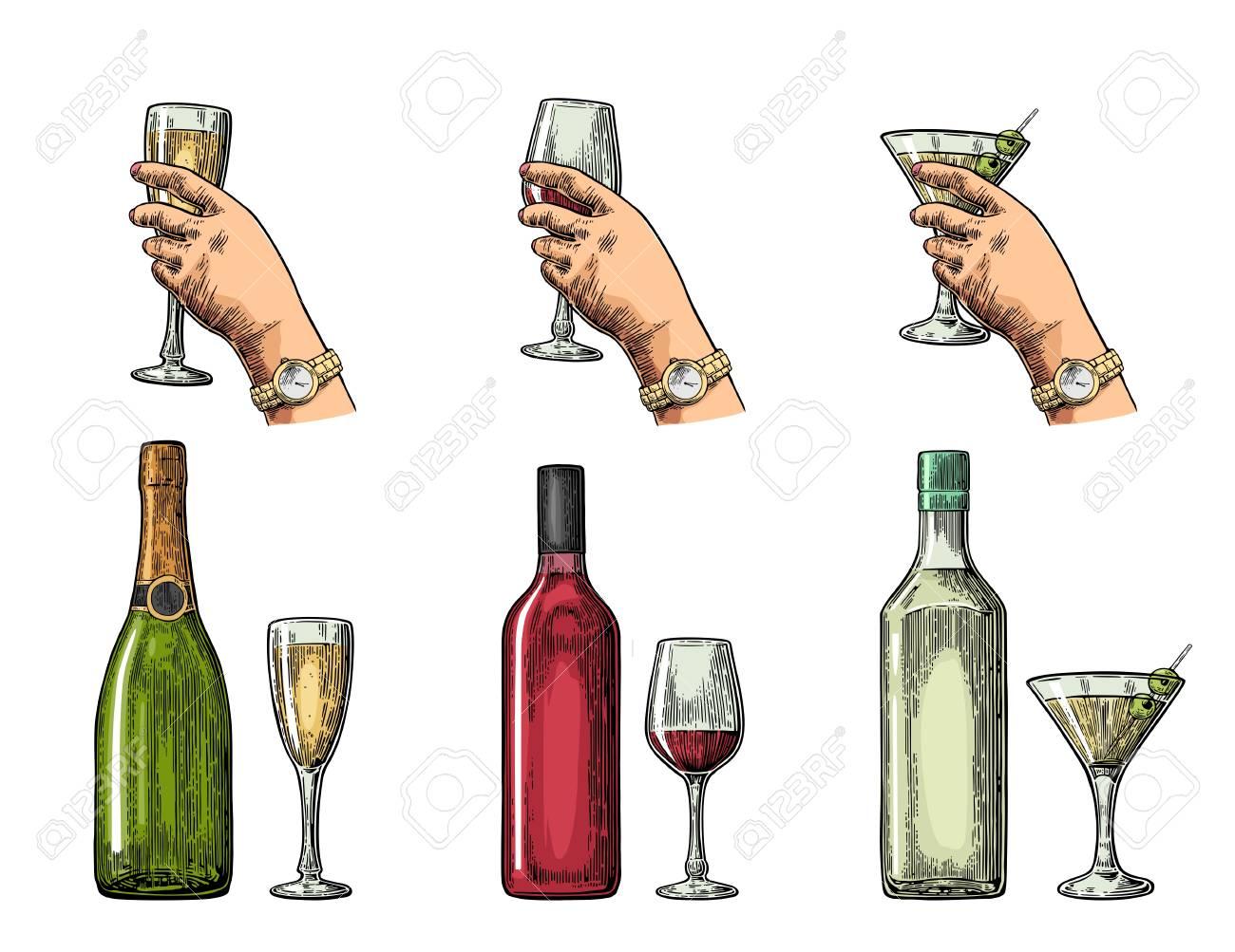 Set Alkohol Getränke Mit Flasche Glas Und Hand Hält Cocktail Wein