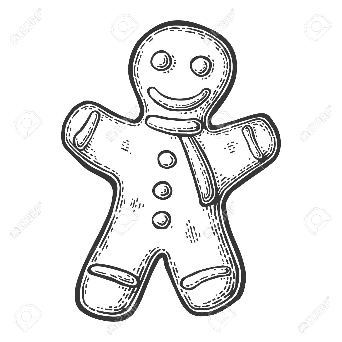 Gingerbread Man Isolated On White Background Vector Vintage