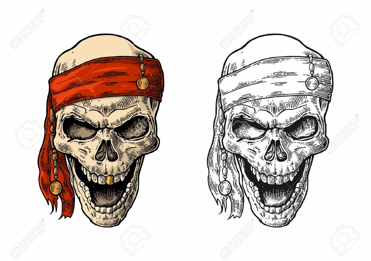 Skull pirate in bandana smiling. Color and black vintage engraving vector illustration. For poster, laser engraver and tattoo biker club. Hand drawn design element isolated on white background - 70030741